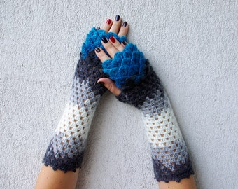 Fingerless Gloves Arm Warmers Crochet Shell Trim Knit romantic lace fingerless gloves gift for her Fall Mittens Womens Gloves Wrist Warmers