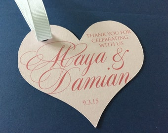 Wedding or Shower Heart Favor Tag / LOVE