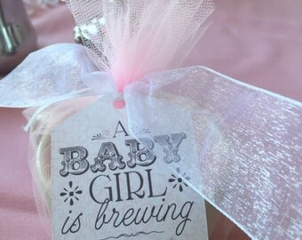 A Baby Girl Is Brewing! Baby Shower or Sprinkle Favor Tag with Ribbon