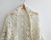 Vintage whitw crochet shawl
