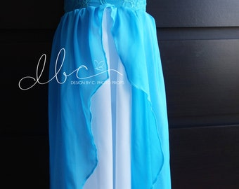 Claryta turquoise and white Chiffon Girl Dress ,Children gown, Matching to Chiffon Maternity Gown