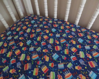 Happy Birthday little one . Baby CRIB or TODDLER Fitted Cotton Bed Sheet