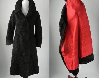 Couture Coat, Vintage Coat, Black Vintage Coat, 1950 Vintage Coat, Lambswool Coat, Black Lambswool Coat, 50s Wool Coat, Womens Wool Coat