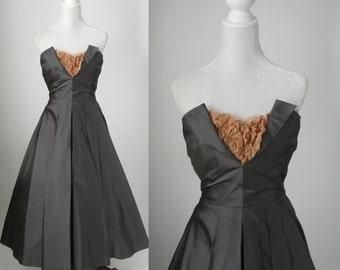 Vintage Style Dress, 1950s Style Dress, 50 Strapless Dress, Vintage Grey Gown, 1950 Grey Strapless Gown, Tea Length Gown, Silk Taffeta Dress