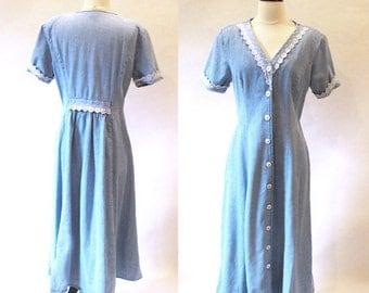 Vintage 70s Blue Denim Dress, Vintage Button Dress, Long Jean Dress
