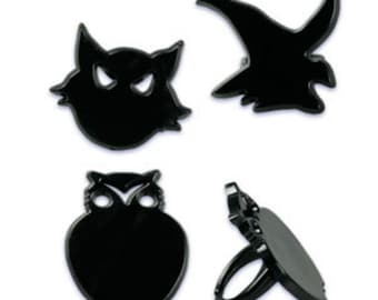 Cat, Owl & Witch Cupcake Toppers Rings, 12 Halloween Cupcake Toppers, Halloween Party Favors, Trick or Treat, Cupcakes