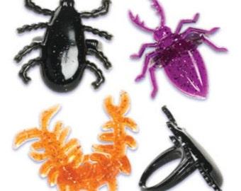 Creepy Crawlers Cupcake Topper Rings, 12 Halloween Cupcake Toppers, Halloween Party Favors, Trick or Treat
