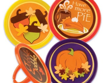 Autumn Fall Festival Cupcake Topper Rings, 12 Autumn Cupcake Toppers, Party Favors, Leaves, Pumpkins, Pumpkin Pie, Fall