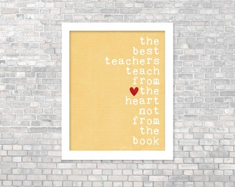Digital Art Print Teacher Gift Best Teachers Original Art Poster Teacher Gift Black Typography Quote Yellow Teacher Gift Classroom Decor