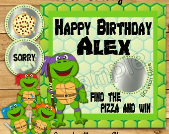 Turtle Birthday Scratch Off Cards Birthday Party Scratch off game card Party Scratch off tickets Ninja party game scratchers 12 printed