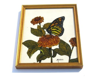 Vintage Reverse Painting: Beautiful Butterfly and Flowers, Autumn Colors, Signed Margie