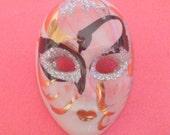 Vintage Hand Painted China Porcelain Mask Brooch