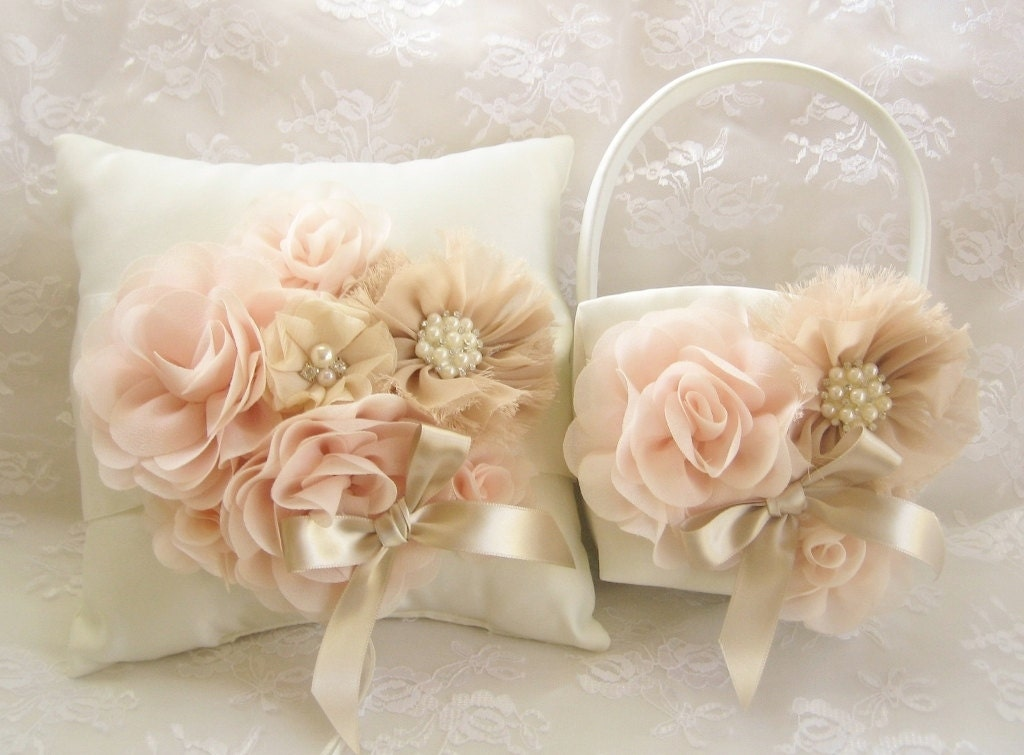 Flower Girl Baskets Fall : Wedding sale off fall champagne blush flower girl