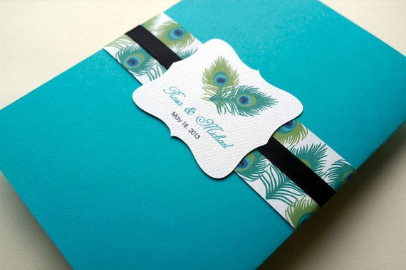 Peacock Feather Wedding Invitation Suite, Teal and Black, Sample