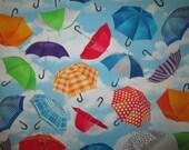Umbrella Sky Blue Umbrellas Cotton Fabric Fat Quarter or Custom Listing