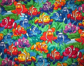 Clownfish Tropical Fish Colorful Sea Cotton Flannel Fabric Fat Quarter or Custom Listing