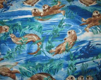 Sea Otter Realistic Otters Cotton Fabric Fat Quarter Or Custom Listing
