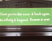 I Love You to the Moon and Back to Infinity and Beyond Sign Plaque Room Decor Boys Girls Room Nursery You Pick Color Wooden Hand Painted