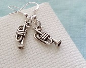 Trumpet Earrings. Brass Orchestra Jewelry. Music Earrings. Trumpet Charm Earrings. Musician Jewelry. Antique Silver Trumpet. Gift Under 10