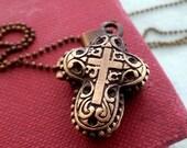 Cross Locket Necklace. Brass Locket. Keepsake Necklace. Small Locket. Bohemian. Vintage Locket. Long Necklace.Scent Locket