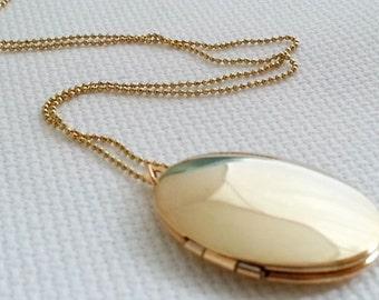 Oval Locket Necklace. Gold Locket. Keepsake Necklace. Gold Locket Pendant. Long Necklace.Small Oval Locket. Layering Layered, Christmas Gift