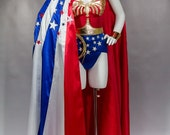 WS2 Wonder Cape,Star Spangled Red White and Blue Womens Costume Cape, floor length replica lynda carter costume cape, 16 foot hem sweep