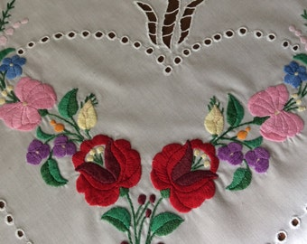 Vintage Tablecloth Hand Embroidered with cutwork and buttonhole stitching 32 x 33