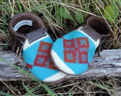 Scout Baby Moccasin 2T-3T // Tribal Pendleton Wool Brown Leather // Rosebud Originals