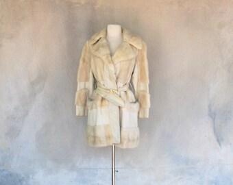 Vintage 60s ivory leather blonde mink coat - 1960s mod mid length belted jacket - Medium