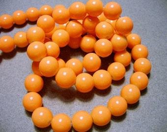 Glass Beads Orange Round 10MM
