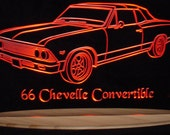 "1966 Chevelle Convertible Acrylic Lighted Edge Lit LED Sign Plaque 13"" VVD1 Full Size USA Original"