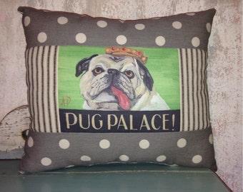 Pug Palace colorful Pug Pillow