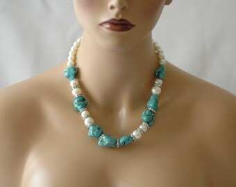 Bib Necklace, Turquoise Necklace, Turquoise and Pearl Necklace, Gift for her, Short Necklace, Birthday Gift