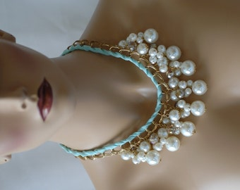 SALE - Bib Necklace, Dangle Necklace, Gold chain and Pearl Necklace, Statement Jewelry, Gift for her, Mint Ribbon Pearl Necklace