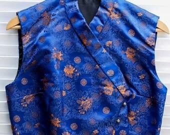 Blue Chinese Silk Brocade Vest