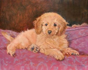 Poodle Print, Poodle Dog Art, Poodle Puppy Art, Poodle Art Print, Dog Art Print from Oil Painting  by P. Tarlow