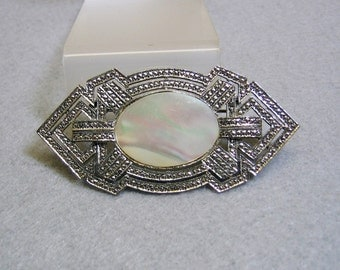 Art Deco Style Mother of Pearl Brooch, Vintage 1980s