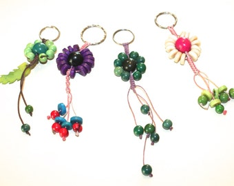 Set of 4 Flower Shaped Tagua Keychains/ Eco Friendly Accessories, Tagua, Teacher's Gift Idea