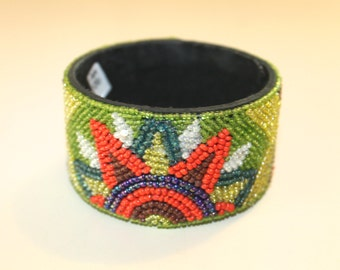 Colorful Wood and Glass Bead Bangle, Boho Jewelry, Free Spirit, Boho chic