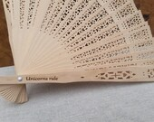 Custom Engraved Lace Wood Hand Fans