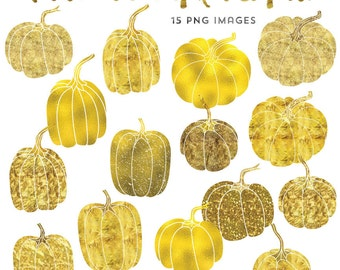 Gold Clip Art, Foil Pumpkin Clipart, Thanksgiving Clipart Instant Download, Commercial Use Gold Foil Clip Art
