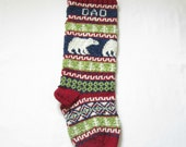 Christmas Stocking Knitted Personalized with Polar Bears (made to order) Fair Isle Xmas Knitted Stocking with bears