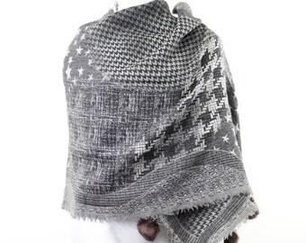 braid chainlink houndstooth weave wool jacquard scarf shawl fur pom pom trim grey and brown gray charcoal graphite