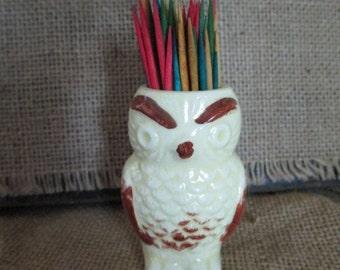 Vintage Owl Toothpick Holder