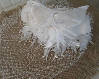 Vintage White Velvet Bow Hat with Birdcage Veil // Hair Band // Fascinator