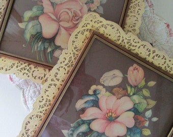Framed Floral Botanical Litho Prints, Signed Georgia B Caldwell, Cottage Charm Decor, Dresden Paper Lace Trimmed Frames, Under Glass