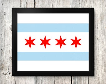 Chicago Flag 8x10 Instant Download Printable Digital Art Print