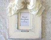 Photo Frame Religious Baby Wedding Ivory White Bow Cross Jewel Baptism Christening Personalize Christian EXTRA WIDE