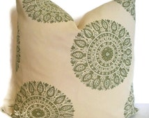Laura and Kran Chakra Handprint Sun Green Medallion Pillow Green Suzani Pillow Cover Green Tan Pillow 16 18 20