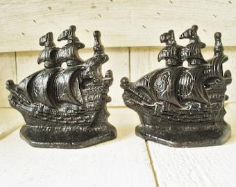 Vintage bookends black cast metal ships Elizabethan galleons